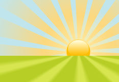 Bright yellow sunrise rays shine on earth scene vector illustration