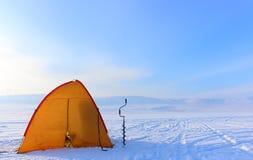 Equipment for winter fishing stock photos