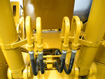 Bright Yellow Tractor Closeup Construction Stock Photography