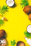 Bright yellow tropical background with coconut milk stock photography