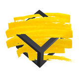 Bright yellow vector brush stroke hand painted background with frame. Unusual Stock Photo
