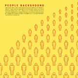 Bright Yellow Vector People Crowd Background Made of Simple Line Icons. Sample Text stock illustration
