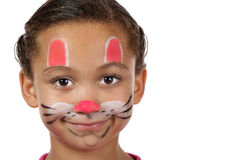 Bright young girl with kitty face Stock Photos