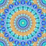 Brightblue e fundo sem emenda abstrato floral decorativo do mão-desenho alaranjado com muitos detalhes para o projeto do lenço de ilustração do vetor