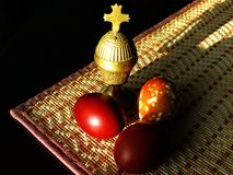 The brightest holiday of Easter. The brightest religious holiday of Easter gives us the assurance of salvation. Festive still life - censer and Easter eggs in royalty free stock photos