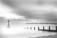 Brightlinsea black and white sea lansdscape shot Royalty Free Stock Photos