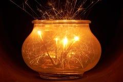 Brightly burning sparklers Stock Photos