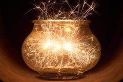 Brightly burning sparklers Stock Photo