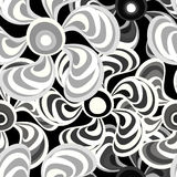 Brightly colored abstract flowers on a black background pattern vector illustration Royalty Free Stock Images