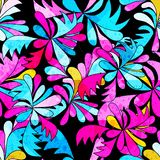 Brightly colored abstract flowers on a black background seamless pattern illustration. Brightly colored abstract flowers on a black background seamless pattern stock illustration