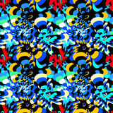 Brightly colored abstract flowers on a black background seamless pattern. (vector eps 10 Royalty Free Stock Photo
