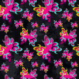 Brightly colored abstract flowers on a black background seamless pattern Royalty Free Stock Photography