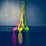 Brightly colored beads Stock Photos