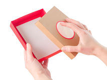 Brightly colored boxes for gifts Stock Photo