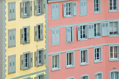 Brightly Colored buildings. In Lausanne, Switzerland Royalty Free Stock Image