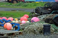 Brightly colored buoys Stock Photography