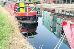 Brightly colored canal boat in London England Royalty Free Stock Photos