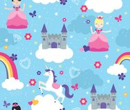 Brightly Colored Castle in the Clouds Seamless Vector Pattern with Princesses and unicorn. A magical and fun seamless vector repeating pattern featuring pretty stock illustration
