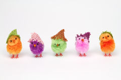Brightly colored chickens in a row Stock Photos