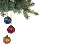 Brightly colored christmas balls hanging from christmas tree Royalty Free Stock Images