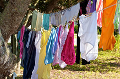 Brightly colored clothes. Two rows of brightly colored clothes dying on rope clothesline tied onto trees Royalty Free Stock Images