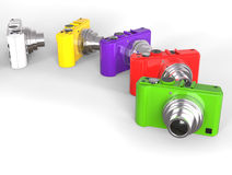 Brightly colored compact digital photo cameras Stock Image