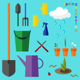 Brightly colored conceptual illustration on the theme of spring. Gardening Stock Image