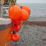 Brightly colored fishing floats Stock Photo