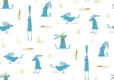 Brightly Colored Fun Cartoon Rabbits Animals Stock Image