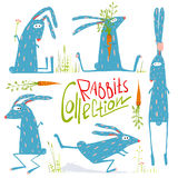 Brightly Colored Fun Cartoon Rabbits Animals Royalty Free Stock Images