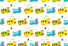 Brightly Colored Fun Cow and Milk Seamless Pattern Stock Photo