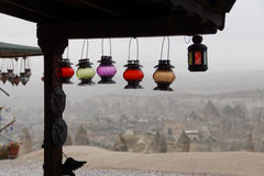 Brightly colored glass lanterns Royalty Free Stock Images