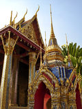 Brightly colored and golden temple - Bangkok royalty free stock photo