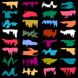 Brightly colored graffiti stains Set Stock Photo