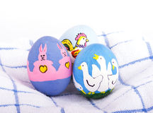 Brightly colored hand painted Easter eggs Stock Image