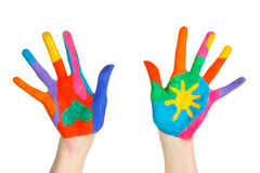 Brightly colored hands Stock Photos