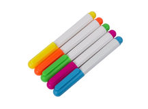Brightly Colored Highlighters On White Background Royalty Free Stock Images