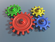 Brightly colored interlocking cogs. Illustration of brightly colored interlocking cogs on a shiny surface stock illustration