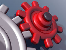 Brightly colored interlocking gears. Illustration of brightly colored interlocking gears on a shiny surface vector illustration