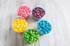 Brightly Colored Jelly Beans for Easter From Above. Brightly colored jelly beans in baskets for Easter from above Royalty Free Stock Photos