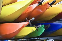 Brightly Colored Kayaks Stock Images