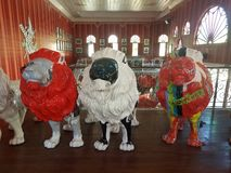 Brightly colored lion statues in Ponce, Puerto Rico. Brightly colored or painted lion statues in Ponce, Puerto Rico stock photo