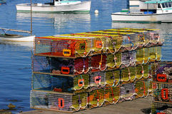 Brightly colored lobster traps stock photos