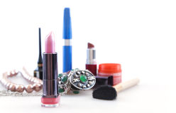 Brightly colored makeup objects Royalty Free Stock Images