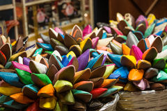 Brightly colored Moroccan shoes Stock Photography