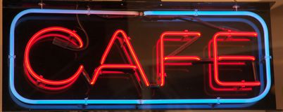 The Neon Cafe sign Royalty Free Stock Images