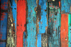 Brightly Colored Panels of Weathered Wooden Boards Royalty Free Stock Photo