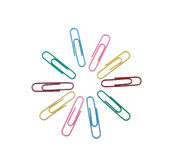 Brightly Colored Paper Clips. Ten brightly colored paper clips stock image