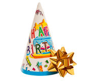 Brightly colored party hat with bow Stock Photo