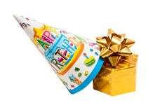 Brightly colored party hat with gift box Stock Image